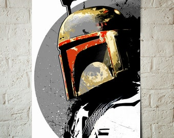 Star Wars Art - Boba Fett - Star Wars Poster, Art Print, Boba Fett Print, Star Wars Print, fan art illustration, Star Wars gift idea