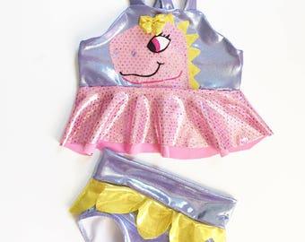 Girls T Rex Dinosaur swimsuit