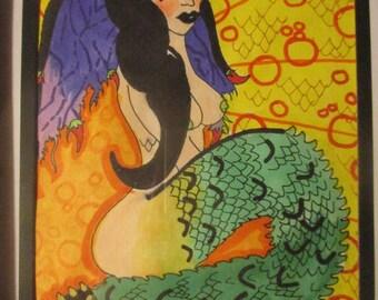 Dragon Woman Serpent Original Glass Framed Drawing