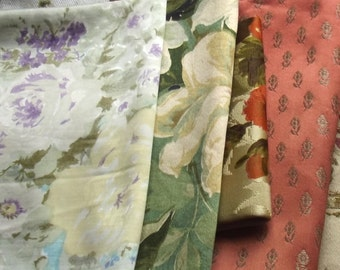 Bundle Vintage French Fabric Soft Satins Silks Scraps Cutters pack