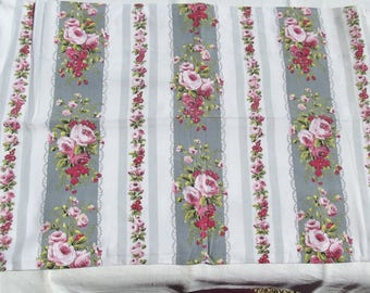 Vintage French 1940's Ticking Fabric Piece Pink roses Dove grey Stripes
