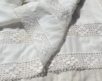 Pretty Vintage White muslin Lace curtains Cutter Fabric Panel Fine Linen Net lace fabric