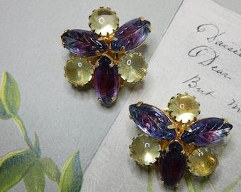 Watermelon Molded Art Glass Clip On Earrings In Lavender Blue & Lemon Yellow    NCD33