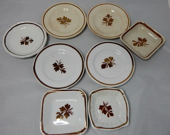 Mixed Lot of 8 Antique Tea Leaf ENGLISH Ironstone Butter Pats: ALFRED MEAKIN