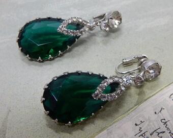 Large Emerald Green Teardrop Dangle Clip On Earrings w/ Rhinestone Accents     OAB33