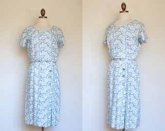 vintage 1960s ivory cutwork floral dress with light blue embroidery / early 60s white and blue floral sheath dress / L