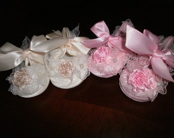 Pink or Ivory Satin Baby Shoes ,Christening and Baptism, Crib Shoes, Newborn, Fancy Shoes, First Shoes, Elegant, Satin Shoes,Embellish Shoes