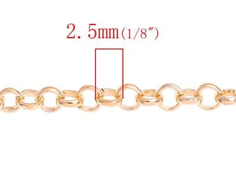 10M (32.8 Ft) - Rose Gold Plated Rolo Link-Opened Chain - 2.5mm Links