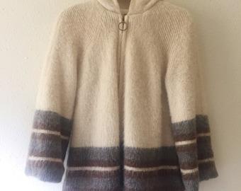 Vintage,1960s, Icelandic, Mohair, Cream, Sweater Coat, Eider Knit, A Line, Hooded, Boho Chic, Swing Jacket