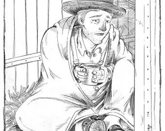 Hobomancer Bo Suicide Original Graphite Illustration