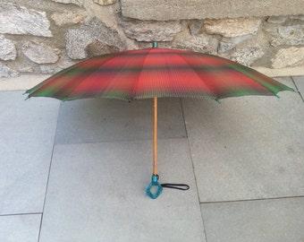 1930s shadow plaid umbrella with blue handle vintage umbrella 40s umbrella 1940s vintage rayon 30s umbrella