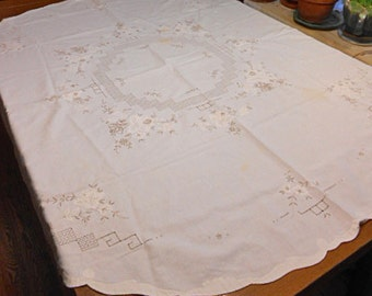 Textured MADEIRA ROSE & LEAVES Oval Tablecloth Ecru Embroidery Drawnwork Lattice Design Linen, Applique Scallop Border 54 x 56 Washable