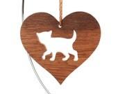 Wood Kitten Ornament, Wooden Heart Shaped Pet Ornament, Christmas Kitty Cat Decoration, Oak