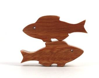 Waldorf  Miniature Wood Fish Toy Noah's Ark Ocean Animals Sea Life Play Set Nautical Decor Hand Cut Scroll Saw Canarywood