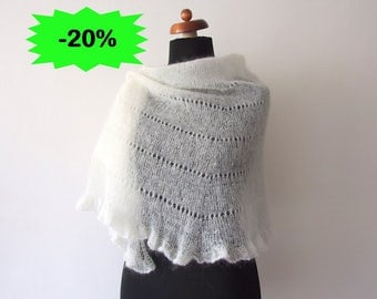 ecru bridal cover up, handknit wrap with ruffle, wedding shawl, light and delicate, with mohair