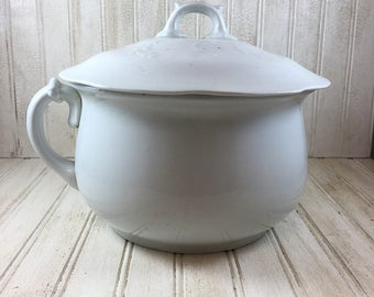 Vintage Lidded Ironstone Chamber Pot