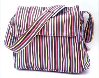 Striped Diaper Bag - Brown, Pink and Blue - Crossbody Diaper Bag with Lots of Pockets