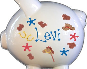 Personalized Piggy Bank with Cowboy Design   White   Brown   Boy Gift   Baby Gift   Large   Free Shipping