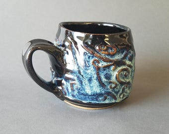 Wavy Swirly Textured Coffee Mug in Gloss Black Blue Teal Speckles