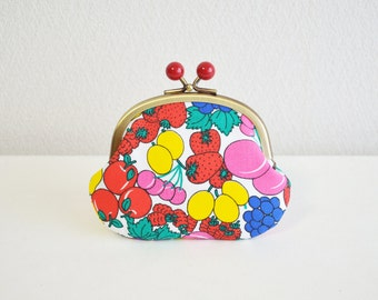 Christmas sale!  Vintage fruits art coin purse with red acrylic balls - strawberry, grape, frame purse, clasp purse