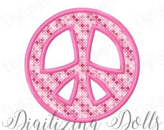 Peace Sign Applique 2 Machine Embroidery Design 2x2 4x4 5x5 6x6 INSTANT DOWNLOAD