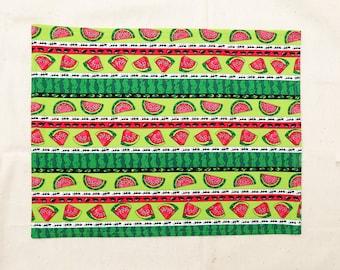 Cotton placemats, reversible, watermelon D, set of 4