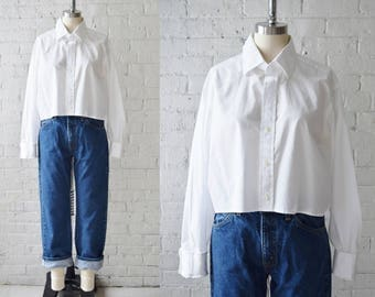 Vintage Cropped Cotton Oxford | Size Medium-Large