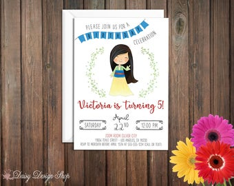 Birthday Party Invitations - Mulan and Laurel in Watercolor Style - Chinese Princess - Set of 20 with Envelopes