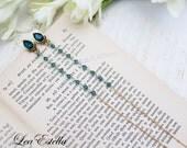 RESERVED For Daniele** Long Teal earrings, Teal Shoulder Dusters, Swarovski crystals earrings Long Turquoise earrings - Christmas Sparkle