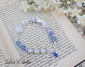 Blue Mermaid bracelet  gemstone bracelet Mermaid jewelry Grey pearl bracelet Blue crystal bracelet Seashell Bracelet - Dreaming Mermaid