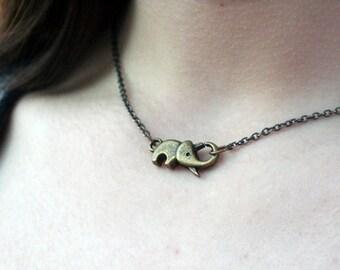 Antique Bronze Elephant Necklace Layering Necklace Elephant Necklace Good Luck Necklace Steampunk Elephant