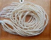 3-4mm  Creamy White,freshwater  potato pearls , FULL STRAND (16 inches)