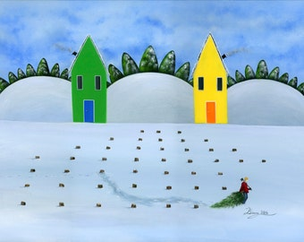 Hilly Haul it Home Giclée Archival Print - Paper or Canvas - Folk Art Winter Painting - lumberjack, christmas tree lot, snow - Various Sizes