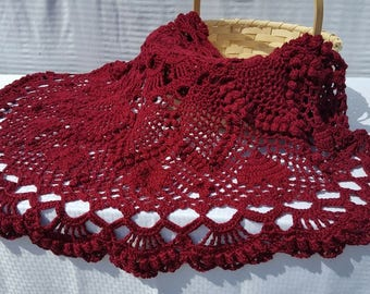 Burgundy popcorn stitch doily afghan, OOAK lapghan, heart design round afghan throw