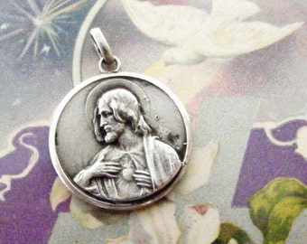 Antique art nouveau silver sacred heart of Jesus/ Mary with infant Christ medal