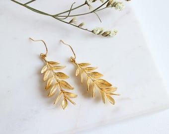 Grecian Goddess Earrings, Gold Leaf Earrings, Willow Branch Earrings, Olive Branch Earrings .