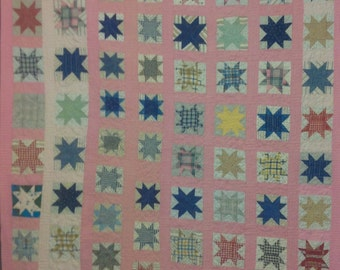 Vintage Evening Star 1890-1930, Scrap Quilt Top with Machine Quilting, Youth, Lap quilt, Blue Shot Cotton Backing, Machine Quilted