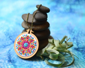 """Spring Colors Hand-Embroidered Mandala in Mini-Hoop Necklace, 2.2"""" with Antique Bronze-Plated Chain"""