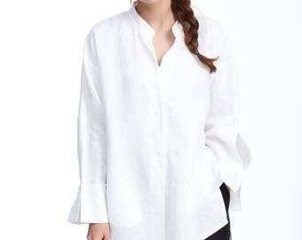 Free Style Linen Shirt with Hidden buttons/Stand-up Collar / 25 Colors / RAMIES