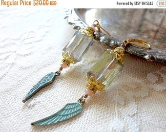 40% OFF CHRISTMAS SALE Sparkling olivine aurora borealis crystal drop earrings with patina feather and pink and golden accents, Royalty