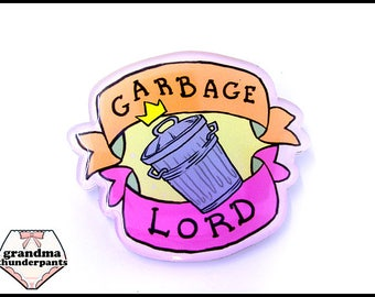 Garbage Lord Pin, Trash Pin, Brooch, Anime, Stocking Stuffer