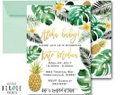 TROPICAL BABY SHOWER Invitation Pineapple baby Shower Invitation Palm Leaves Baby Shower Invitation Luau Hawaiian Baby Shower Invite