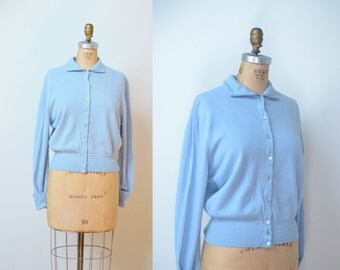 1950s Light Blue Cashmere Cardigan
