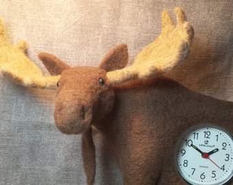 Needle Felted Moose with a Clock in His Stomach