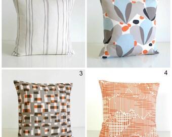Sofa Pillow Cover, Decorative Cushion Cover, Orange Pillows, Accent Pillow Cover, Modern Pillow Sham - Nordic Tulips Orange