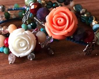 Double Trouble Charmed Boho Memory Wire Wrapped Boho Bracelet Set of 2