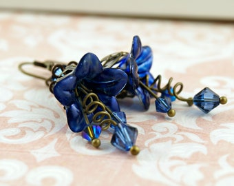 Gothic Blue Lucite Flower Earrings, Hand Painted Lucite Flowers, Wedding Jewelry