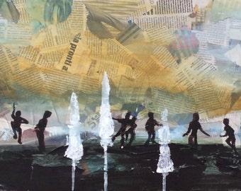 Beach Soccer at Sunset - ORIGINAL Mixed Media Abstract Art