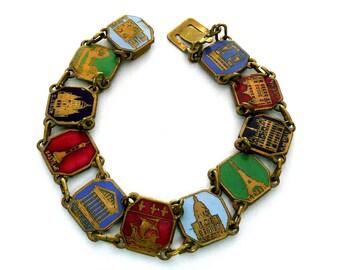 Vintage French Paris Enamel Souvenir Bracelet