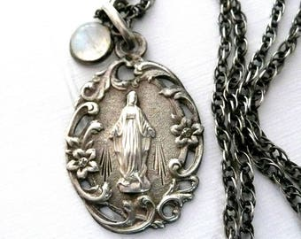 Virgin Mary Necklace, Vintage French Silver Medal
